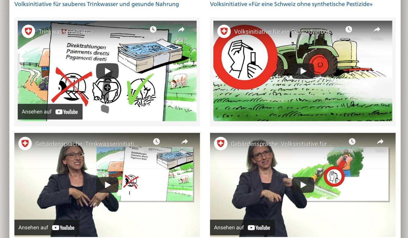 Webseite der Bundeskanzlei mit den Videos zu den Abstimmungen.