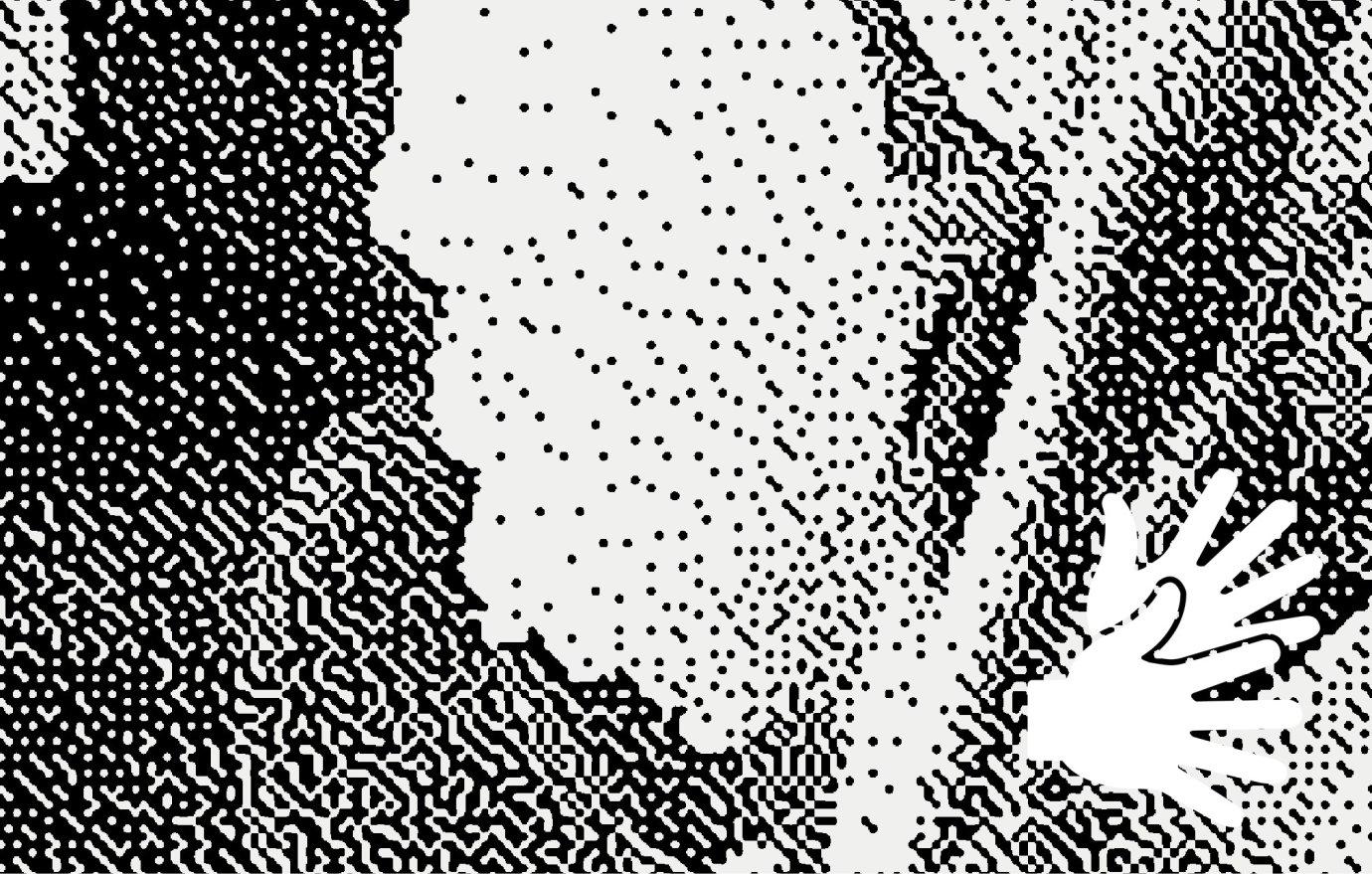 Illustration eines Schwarmes in Schwarztönen
